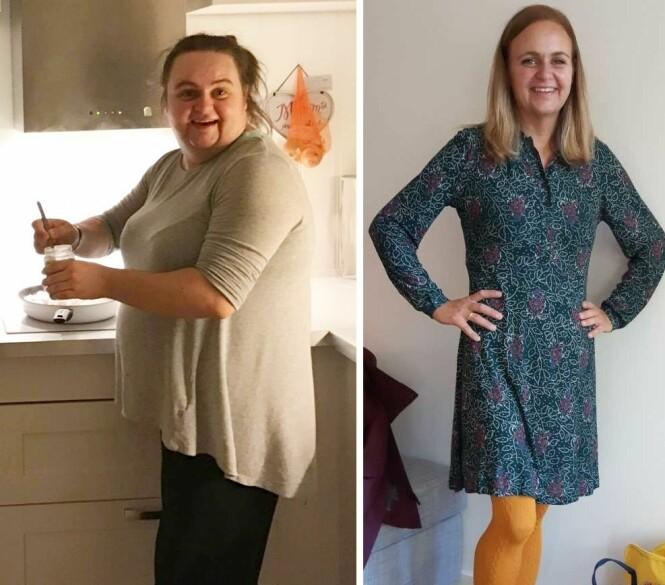 FØR OG ETTER FEDMEOPERASJON: På mitt tyngste veide jeg 109 kg, forteller Marte, som har gått ned 53 kg etter at hun ble fedmeoperert. FOTO: Privat