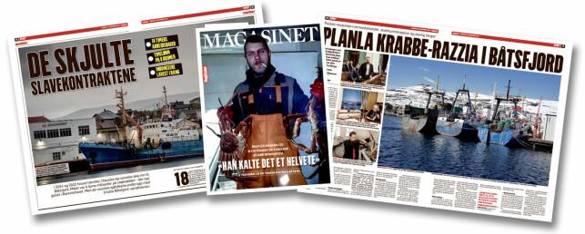 Dagbladet har i en serie artikler avdekket omfattende sosial dumping og mulig menneskehandel på latviske, litauiske og russiske båter som kom til Norge for å fiske snøkrabbe. Mange nordmenn har tjent gode penger på virksomheten, basert på slavekontrakter i strid med EUs minstekrav.