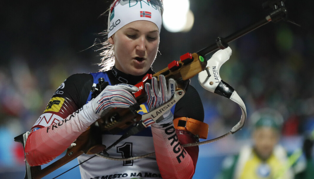 Norway's Marte Olsbu Roeiseland competes during the women's Biathlon World Cup 10 km pursuit event in Nove Mesto na Morave, Czech Republic, Saturday, Dec. 22, 2018. (AP Photo/Petr David Josek)