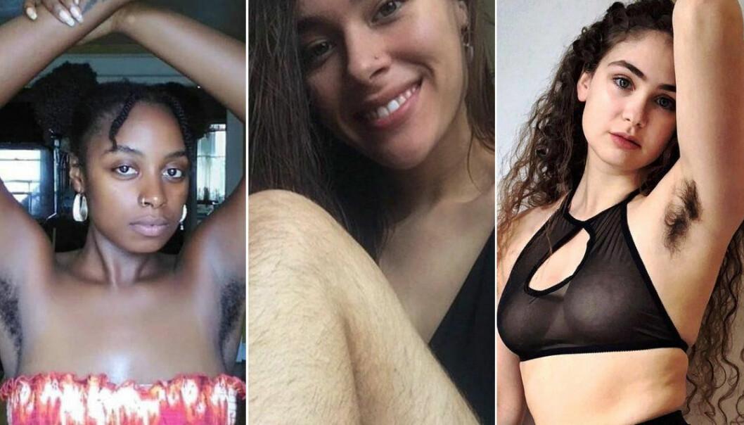 TRE AV TUSENVIS: Disse kvinnene er blant dem som har latt kroppshåret vokse og vist det stolt frem på sosiale medier. FOTO: Instagram