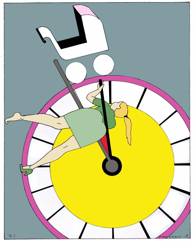 SLIK GÅR ÅRA: Et stabilt parforhold er og blir det viktigste som må på plass. Men menn føler jo ikke at de har dårlig tid, skriver Amanda Schei. Tegning: Finn Graff.