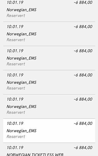 MYE PENGER: Her kan man se hvordan Norwegian trakk nesten 73 000 kroner. Bildet er publisert med tillatelse fra Sørensen. Foto: Privat