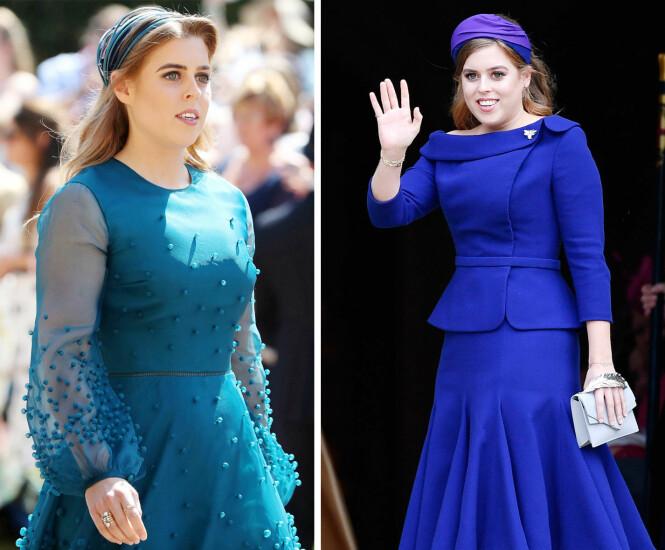 TONET DET NED: Under bryllupet til fetteren prins Harry i mai 2018 (t.v.), og lillesøsteren prinsesse Eugenie i oktober 2018, gikk prinsesse Beatrice for to enklere hatter. FOTO: NTB Scanpix