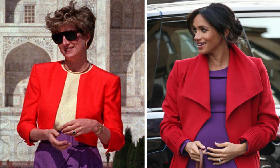 NYDELIG GEST: Da hertuginne Meghan deltok på kongelig oppdrag i Birkenhead i England i midten av januar, dukket hun opp i en rød kåpe med matchende stiletter og en lilla kjole - hun har uten tvil latt seg inspirere av sin avdøde svigermor prinsesse Diana, som brukte denne fargekombinasjonen ved flere anledninger. FOTO: NTB Scanpix