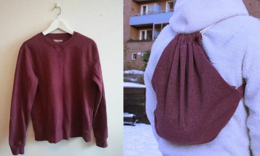 <strong>FRA GENSER TIL SEKK:</strong> På noen enkle trinn kan du forvandle en gammel genser til en ny, sporty sekk. Foto: Camilla Øino