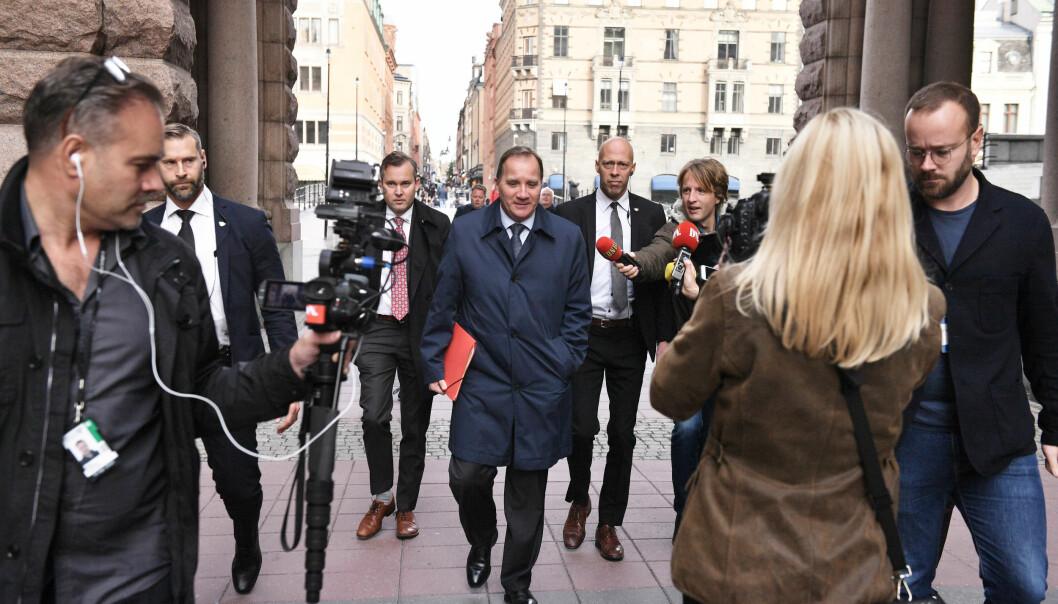 <strong>STATSMINISTER:</strong> Vänsterpartiets partileder Jonas Sjöstedt sier han vil støtte en ny regjering med Stefan Löfven som statsminister. Foto: Fredrik Persson/TT / NTB scanpix