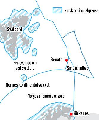 """ARREST: Fangstfartøyet """"Senator"""" ble tatt i arrest utenfor Smutthullet, men i et havområde som ligger i fiskevernsonen ved Svalbard og på Norges kontinentalsokkel. Grafikk: Kjell Erik Berg og Ola Strømman"""