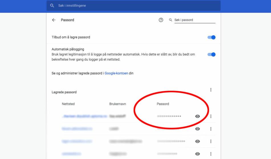 SE PASSORD: I nettleseren Chrome kan du enkelt finne igjen passordene til ulike tjenester. Men, du må ha lagret de først. Skjermdump