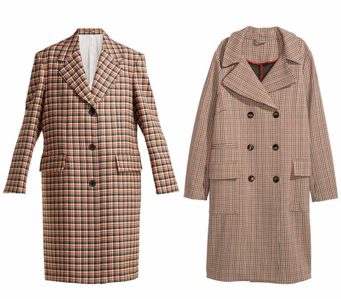 Kåpen til venstre er fra Calvin Klein via Matchesfashion.com, kr 15485. Kåpen til høyre er fra H&M, kr 1000. Foto: Produsenten