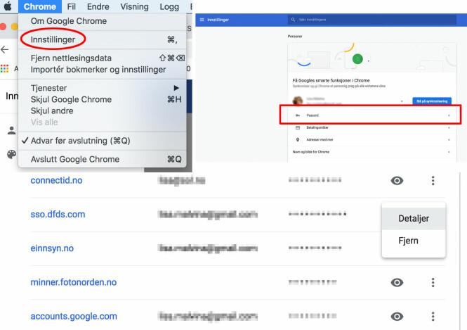 SE OG FJERNE PASSORD: I Google Smart Lock på Chrome kan du se passord som du har lagret. Skjermdump