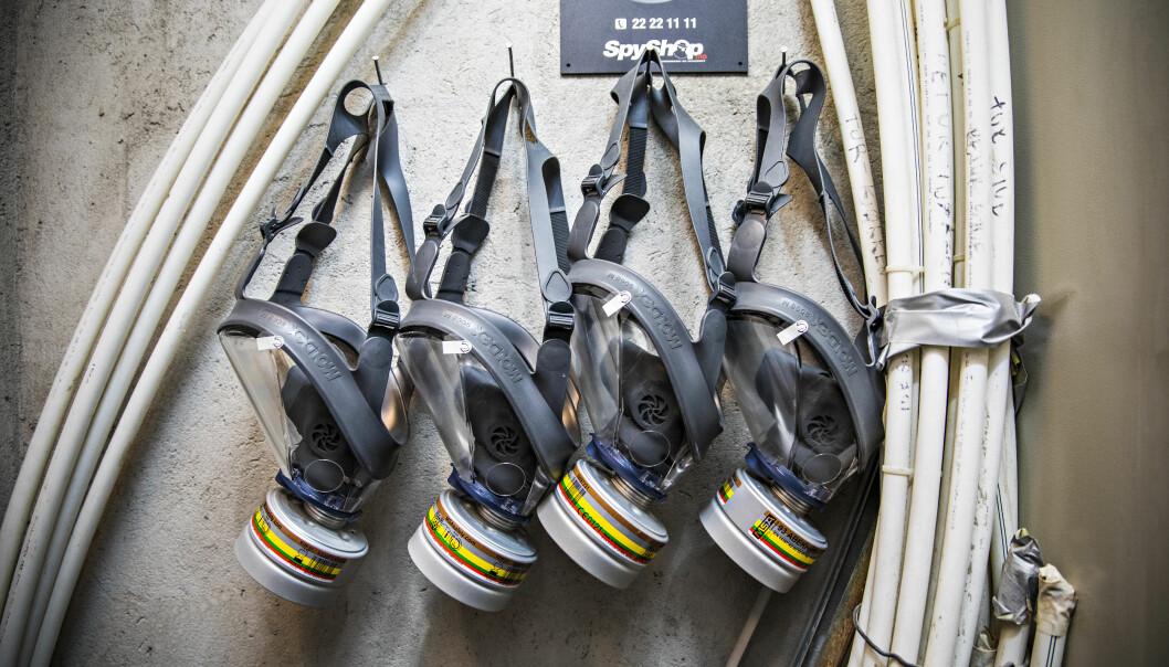 <strong>GASS:</strong> Boligeier ønsket å sikre seg mot gassangrep. Gassmaskene er en enkel og billig løsning, sier Olafsen. Det finnes også rom som har egne ventilasjonsanlegg. Foto: Jørn H. Moen / Dagbladet