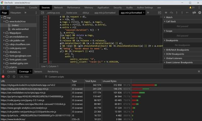 Coverage bruker du for å sjekke hvilke JavaScript og CSS-filer som faktisk er i bruk på siden din. 📸: Jørgen Jacobsen