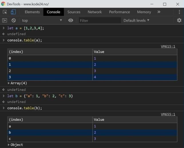 console.table-funksjonen støtter logging av både arrays og objekter. 📸: Jørgen Jacobsen