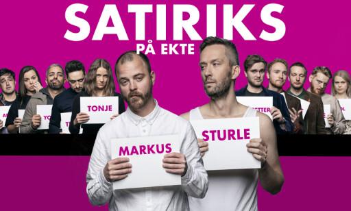 PÅ EKTE: «Satiriks på ekte» kommer til å gå ut og gjøre ting på ekte, i stedet for i studio. Her med Sturle Vik Pedersen og Markus Gaupås i spissen. Foto: NRK