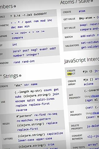 Her ser du litt av ClojureScript-syntaksen. Slike språk skal gjøre det lettere å skrive ren, funksjonell kode. 📸: cljs.info