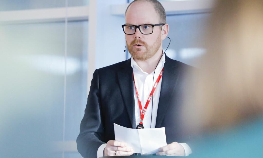 SJEF: Administerende og ansvarlig redaktør i VG, Gard Steiro, under gjennomgangen av medieåret 2018. Foto: Fredrik Hagen / NTB scanpix