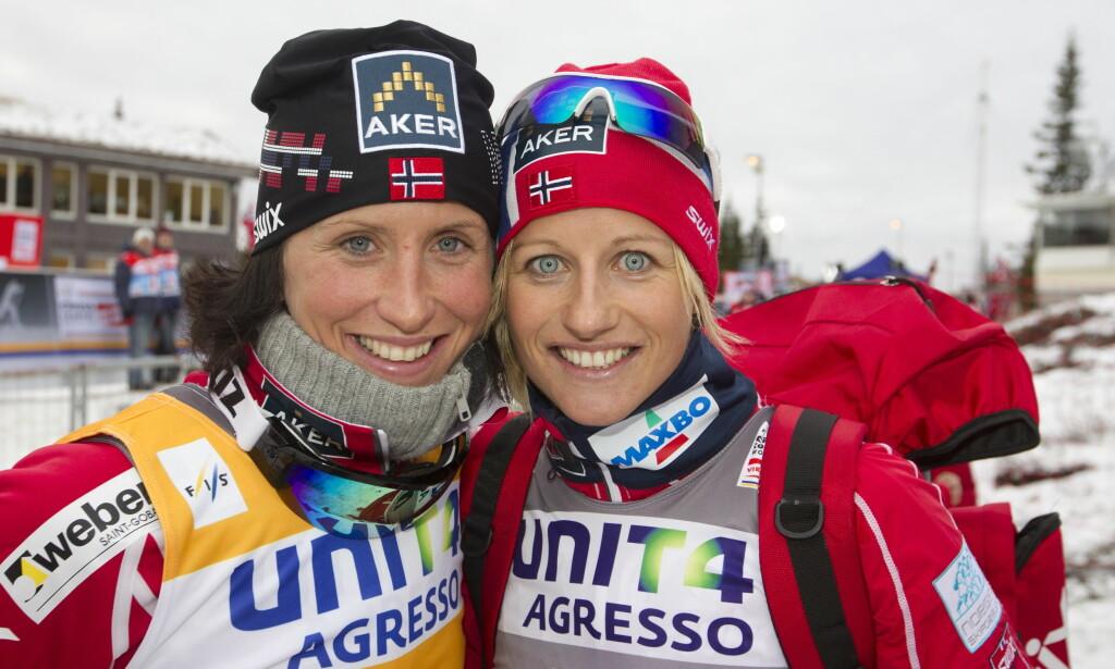 VENNINNER: Marit Bjørgen og Vibeke Skofterud hadde flere år sammen på kvinnelandslaget i langrenn. Foto: NTB Scanpix