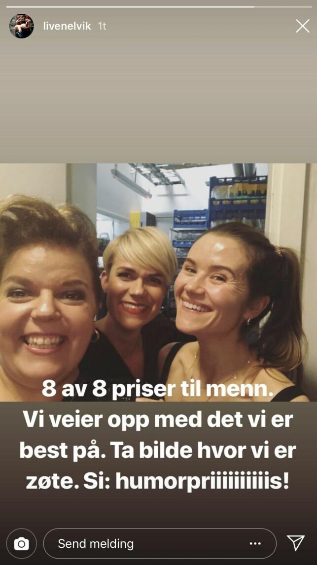 INSTAGRAM: Live Nelvik poengterte også den skjeve kjønnsfordelingen under prisutdelinga i sosiale medier. Her sammen med Else Kåss Furuseth og Sigrid Bonde Tusvik. Foto: Skjermdump, Instagram