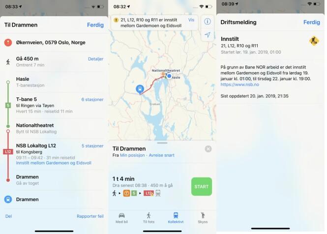 Apple Maps viser eventuelle driftsmeldinger. I veibeskrivelsen påminner appen de reisende at de også må gå ut av toget.