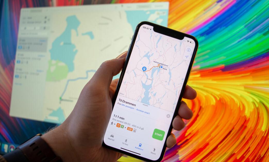 <strong>TRANSIT:</strong> Apple Maps har nå innebygget reiseplanlegger. Foto: Dinside/Apple