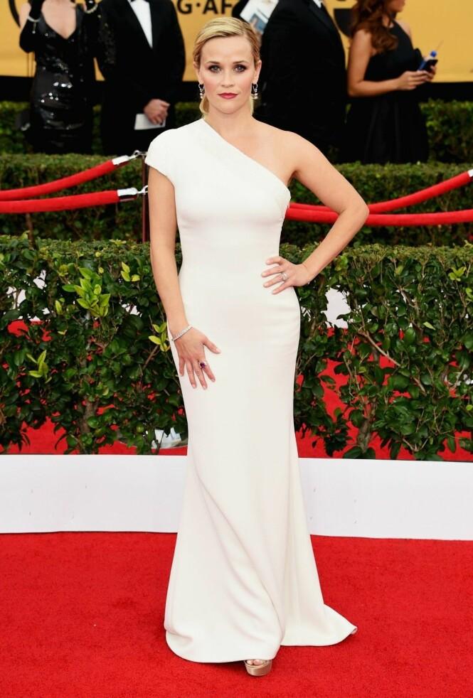 2015: Reese Witherspoon er så vakker i denne hvite kjolen. Foto: Afp
