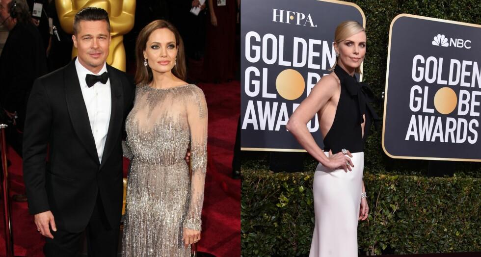ERKEFIENDER?: Ryktene svirrer om at Brad Pitt (55) har funnet lykken med ekskona Angelina Jolie (43) sin påståtte erkerival, Charlize Theron (43). Foto: NTB Scanpix