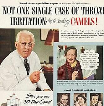 FRISTENDE?: Det var ikke lett å vite hvor skadelig tobakk var med slike reklamer.