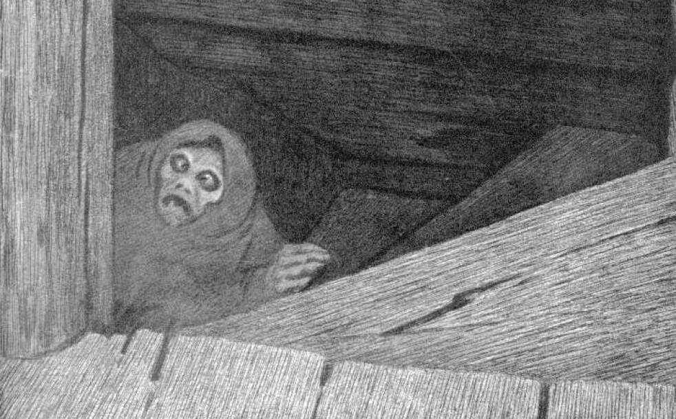 SVARTEDAUDEN: En av de verste pandemiene i historien, svartedauden, kom til Norge i 1349. Illustrasjon: Theodor Kittelsen, 1896 / Wikipedia.