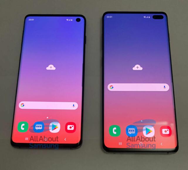 Dette skal angivelig være Galaxy S10 og S10+. Foto: AllAboutSamsung