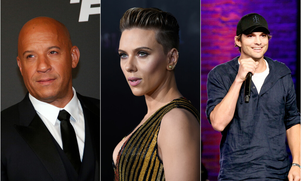 TVILLINGER: Vin Diesel (51), Scarlett Johansson (34) og Ashton Kutcher (40) er alle blant stjernene som har ukjente tvillingsøsken. Foto: NTB Scanpix