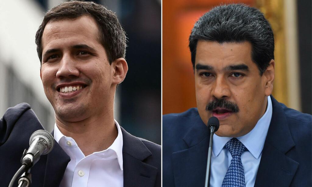 PRESIDENT: Juan Guaidó er leder for Venezuelas nasjonalforsamling. I går erklærte hans seg som landets midlertidige president. Landets president Nicolás Maduros, som ble gjenvalgt i mai, nekter å gi seg. Foto: Yuri CORTEZ and Federico PARRA / AFP