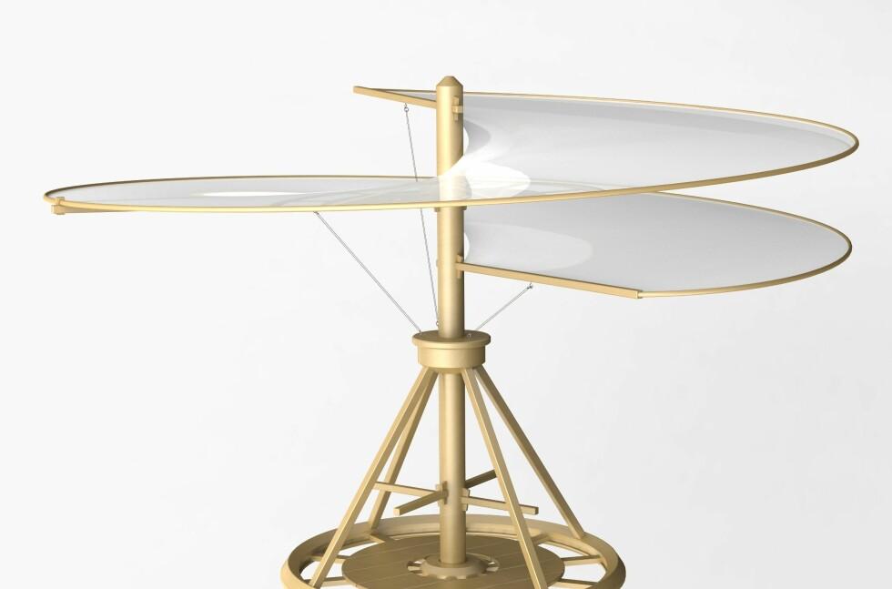 INNOVASJON: Vi har mye å lære av Leonardo da Vinci. 1400-tallet med da Vinci, Columbus og Gutenberg var ei tid for grenseløs innovasjon, oppdagelser og spredning av ny teknologi. På mange måter som vår tid, skriver innsenderen. Her er en av Da Vinci's mange tekniske planer, dette for et helikopter, laget for over 500 år siden. Foto: Shutterstock / NTB Scanpix