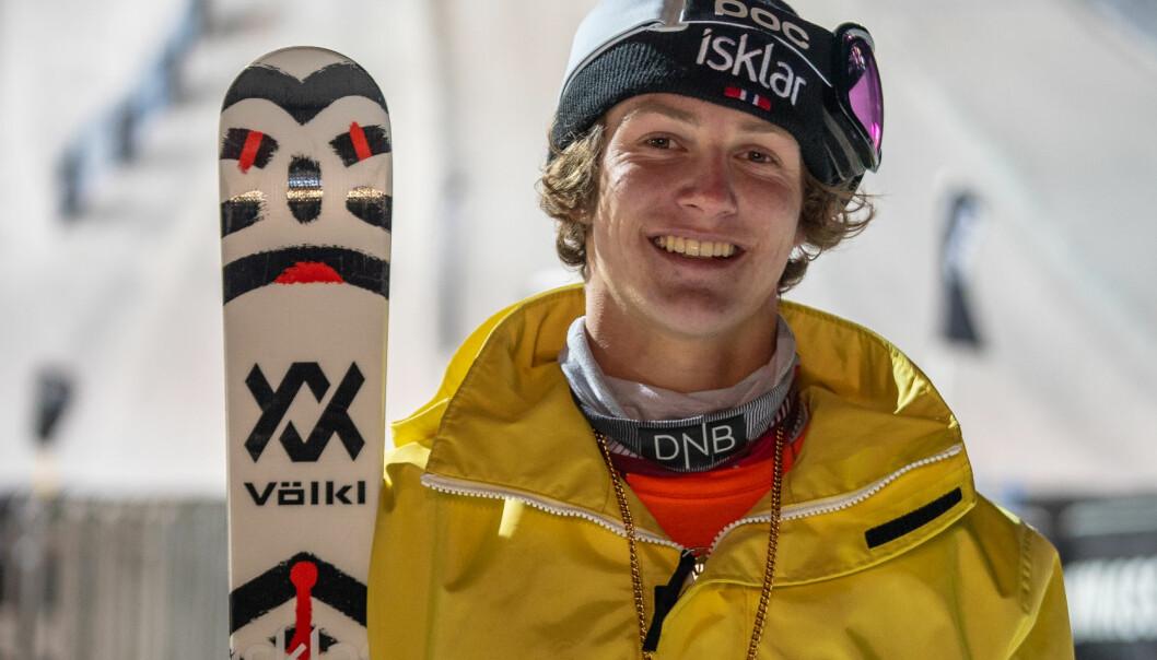<strong>NYTT GULL:</strong> Birk Ruud leverte de triksene med høyest score i nattas Big Air i X-Games. Foto: Norges Skiforbund