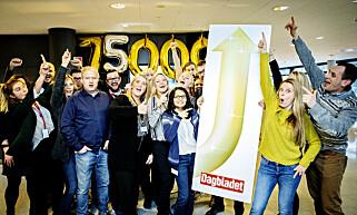 PLUSS-VEKST: Her ser vi Dagbladet-journlister som jubler da avisa nylig rundet 75 000 digitale pluss-abonnenter. Foto: Dagbladet