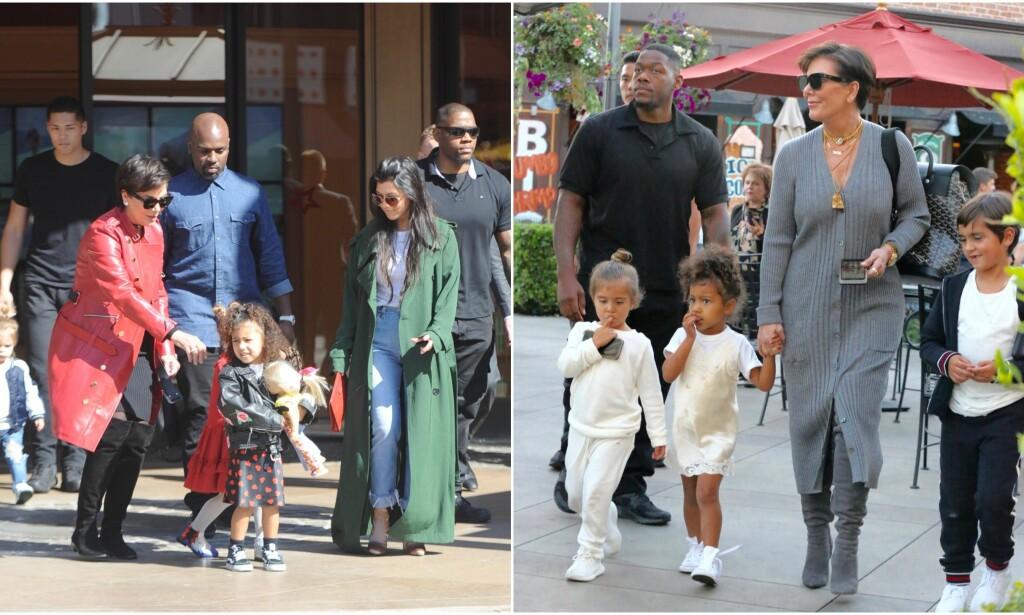 MANGE BARNEBARN: Kris Jenner klaget over at Kardashian-klanen ikke ville ha barn, men så tok det en brå vending og i dag har Kris Jenner hele ni barnebarn - her er hun avbildet med noen av dem ved to ulike anledninger. Foto: NTB scanpix