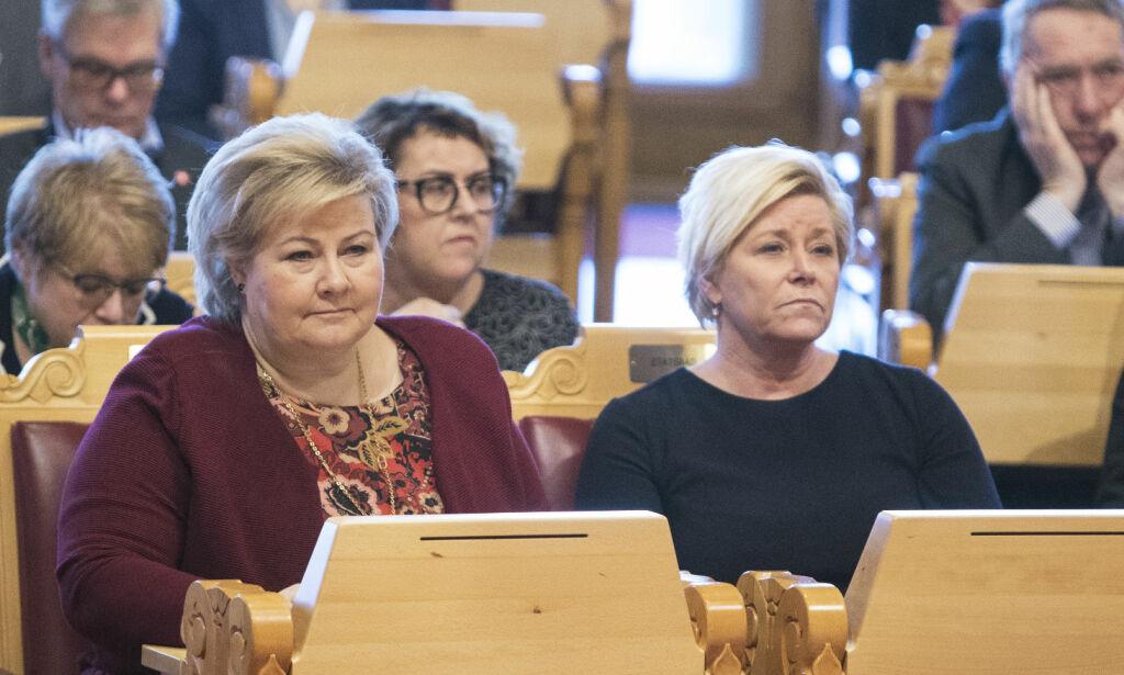image: Erna og Siv i forsetet på Stortinget: - Kan bli en gjentagende vits