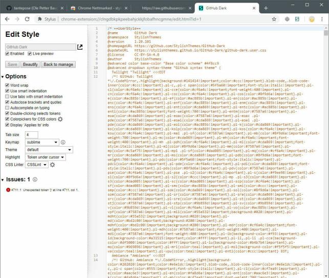 image: Slik får du mørk GitHub i Chrome