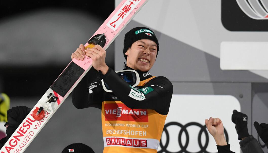 <strong>FAVORITT:</strong> Ryoyu Kobayashi har 13 verdenscupseire denne sesongen, vant Hoppuka sammenlagt, og er naturligvis den største favoritten foran VM i Seefeld.Foto: Christof STACHE / AFP
