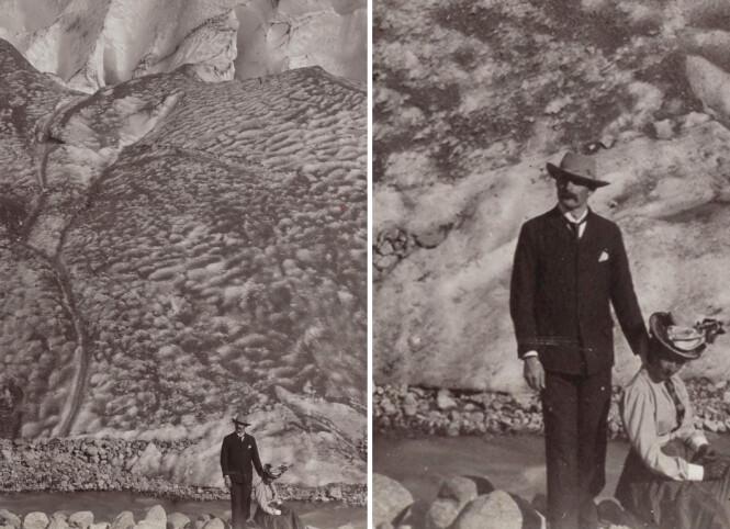 <strong>PENT KLEDD:</strong> En nærmere titt på dette paret foran Bøyumbreen i Sogndal i år 1900, viser hvor staselig folk var kledd i fjellet. Fotograf ukjent / bilde fra Nasjonalbiblioteket