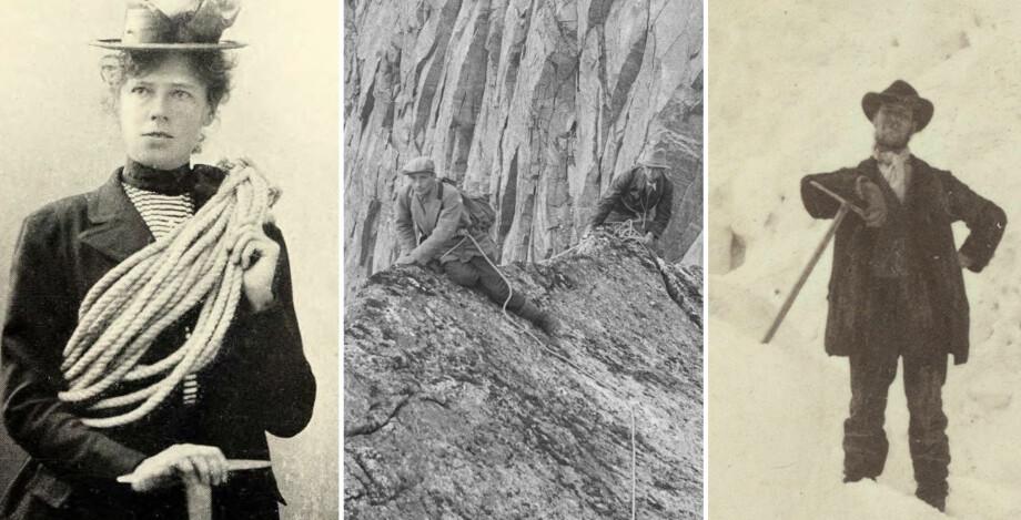 <strong>KLATRET MED STIL:</strong> Kvinnelig klatrepioner Therese Berthau (venstre), Arne Næss på Stetind (i midten), og en av Norges første klatrepionerer, Mathias Soggermoen, avbildet på Storen. Alle er det man kan kalle pent antrukket. Foto: Ukjent / Nasjonalbiblioteket / Carl Christian Hall