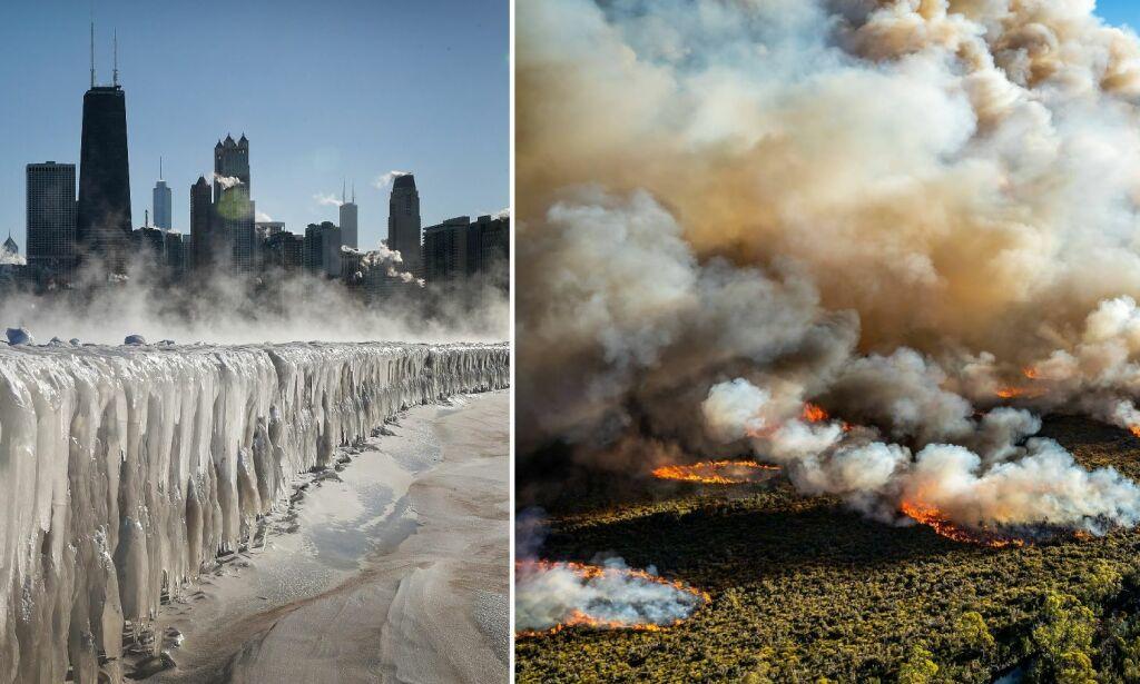 image: USA: Minus 44 grader. Australia: 46 varmegrader