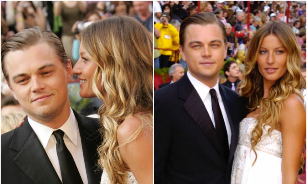 EKS-KJÆRESTER: Her er Gisele og Leonardo sammen på den røde løperen under Oscar-utdelingen i 2005. Samme året som det ble slutt. Foto: NTB Scanpix