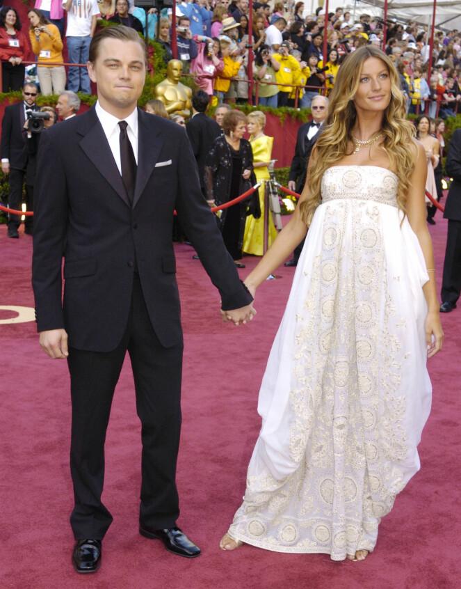 <strong>ETTERTRAKTET PAR:</strong> Gisele Bündchen er den eneste kvinnen Leonardo DiCaprio har tatt med seg på den gjeve Oscar-utdelinga. Her i 2005. Foto: NTB Scanpix