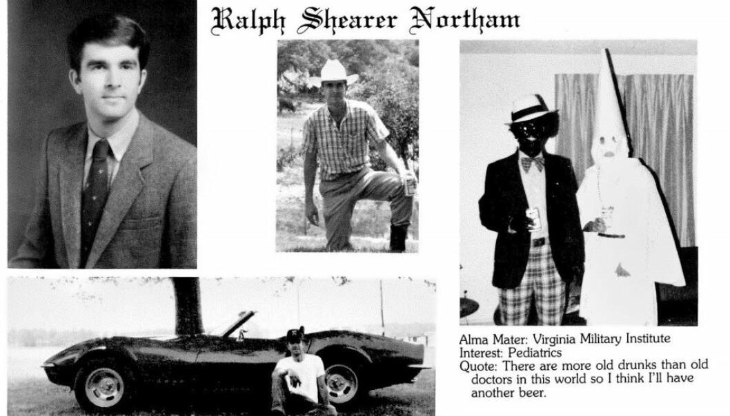 SJOKK-BILDE: Etter offentliggjøringen av det som skal være et rasistisk bilde av guvernør Ralph Northam fra studietiden, mener flere partifeller at guvernør Ralph Northam i Virginia burde trekke seg. Foto: Eastern Virginia Medical School
