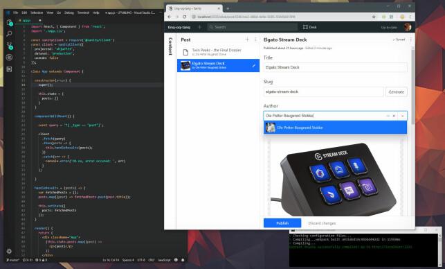 Du kan lage innholdet i Sanity Studio, som du kjører lokalt, på en server eller på Sanitys egen plattform, og innholdet hentes enkelt ut i for eksempel en React-app. 📸: Ole Petter Baugerød Stokke