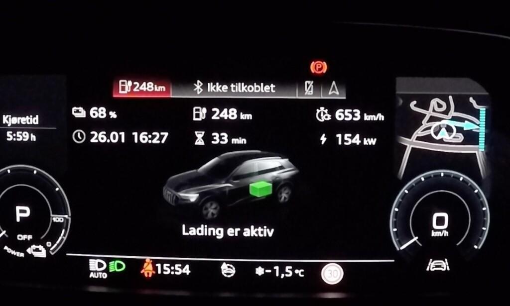 FULL FART: Med 154 kW er e-tron den bilen som lader raskest på markedet - med god margin. Foto: Fred Magne Skillebæk