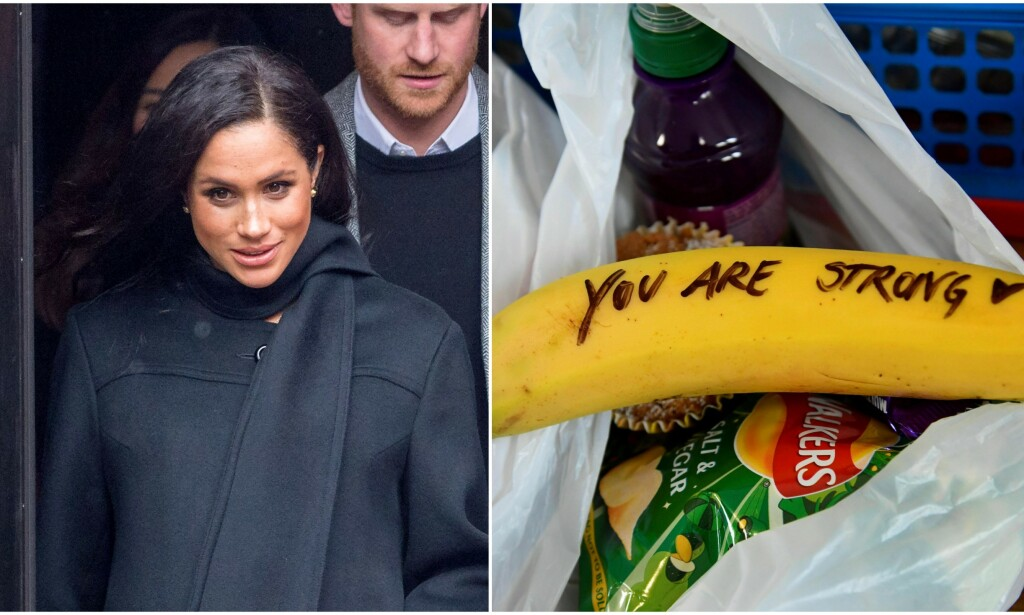 BANANREFS: Hertuginne Meghan får refs for bananhyllesten hun ga til hjemløse sexarbeidere. Foto: NTB Scanpix