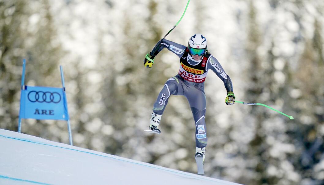 ÅRE, SVERIGE 20190205. Ragnhild Mowinckel i aksjon Super-G kvinner under VM i alpint i Åre. Foto: Cornelius Poppe / NTB scanpix