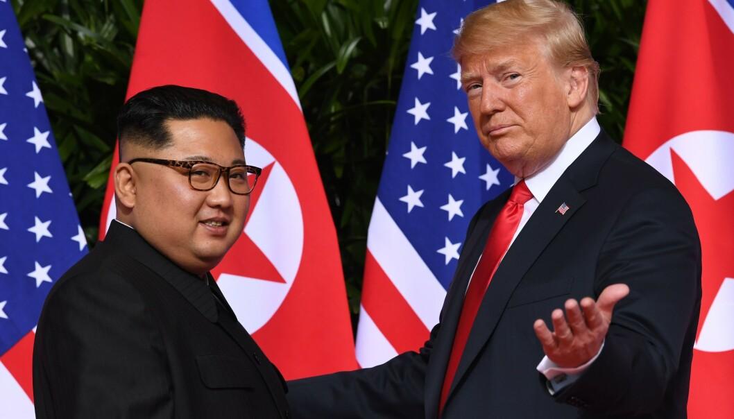 <strong>SKARPT SVAR:</strong> Kim Jong-un og Nord-Korea svarer på Donald Trumps hissige tweet søndag. Foto: SAUL LOEB / AFP
