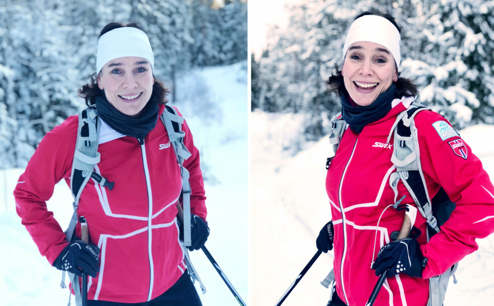 SORTERER TANKENE PÅ SKITUR: Kari J. Spjeldneæs, avtroppende forlagsdirektør for Aschehoug Litteratur, har skrevet boken «På ski fordi» hvor hun prøver å formidle gleden hun opplever ved å spenne skiene på beina og forsvinne inn i de dype skoger. Vi ble med henne på skitur for å prøve å få et innblikk i hva hun mener. FOTO: Malini Gaare Bjørnstad // KK